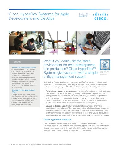 Cisco HyperFlex Systems for Agile Development and DevOps