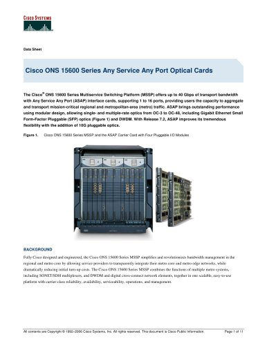 Cisco ONS 15600 Series Any Service Any Port Optical Cards
