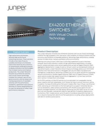 EX4200 Ethernet Switches with Virtual Chassis Technology