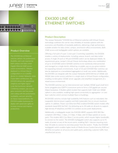 EX4300 LINE OF ETHERNET SWITCHES