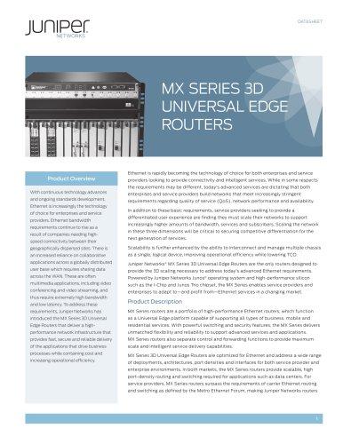 MX Series 3D Universal Edge Routers
