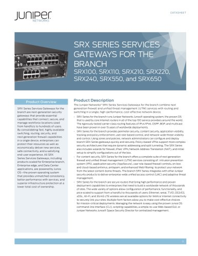 SRX Series Services Gateways for the Branch