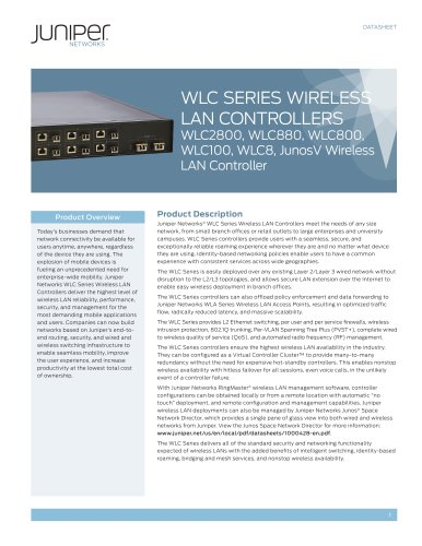 WLC Series Wireless LAN Controllers WLC2800, WLC880, WLC800, WLC100, WLC8, JunosV Wireless LAN Controller