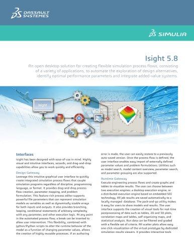 Isight 5 8 - SIMULIA - PDF Catalogs | Technical
