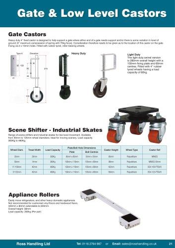 Gate & Low Level Castors, Stillage Feet, Pallet Feet, Appliance Castors & Industrial Skates