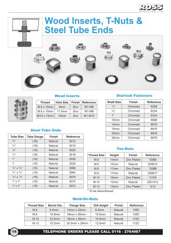 Metal Inserts, Wood Inserts, Starlock Push On Fasteners & Washers, Screw in Sleeves, Tee Nuts, Steel Tube Ends & Stainless Steel Weld-on-Nuts & Plates
