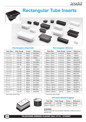Rectangular Ribbed Tube Inserts, Round & Square Metal Capped Chrome Plated Inserts