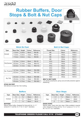 Rubber Door Stops & Buffers, Adhesive Feet, Plastic Hexagon Nut & Bolt Caps & Covers, bumper Feet & Stick on Feet