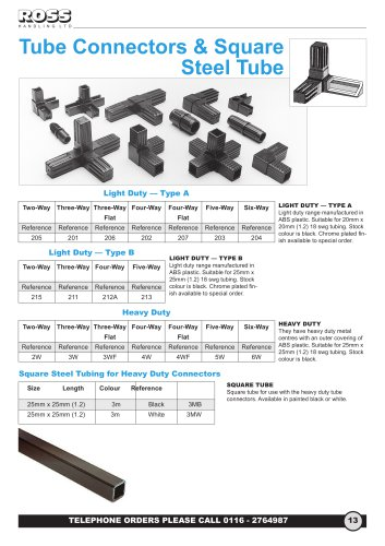 Square Tube Connectors, Square Metal Steel Tubing & Tube Joints, Snap Together Box Section Multi-Way Connectors