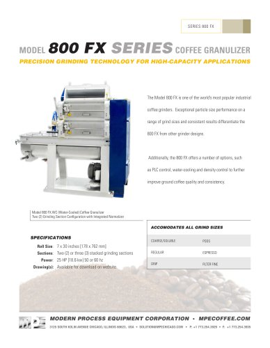 MODEL800 FX SERIES COFFEE GRANULIZER