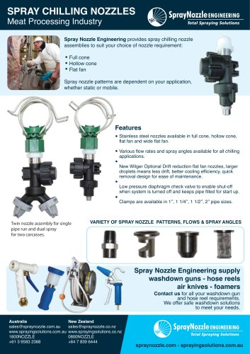 SPRAY CHILLING NOZZLES Meat Processing Industry