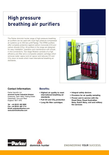 High pressure breathing air purifiers