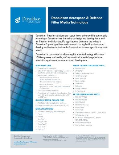 Aerospace & Defense Filter Media Technology