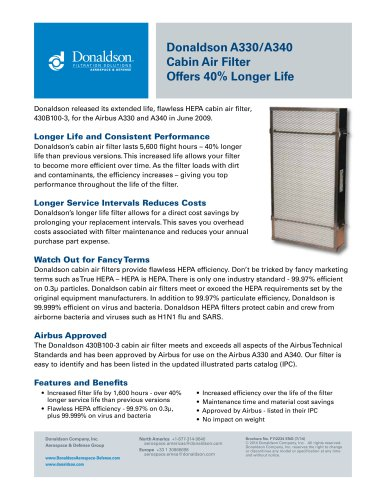 Donaldson A330/A340 Cabin Air Filter Offers 40% Longer Life