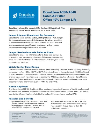 Cabin Air Filter Cost >> Longer Life A330 A340 Cabin Air Filter Donaldson Pdf