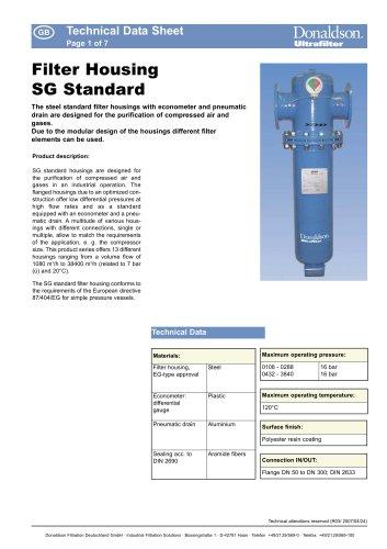 SG Standard Filter Housing