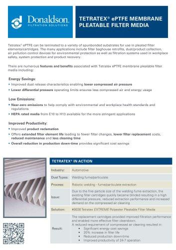 Tetratex Pleatable Filter Media