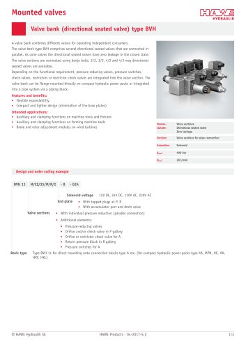 Valve bank (directional seated valve) type BVH