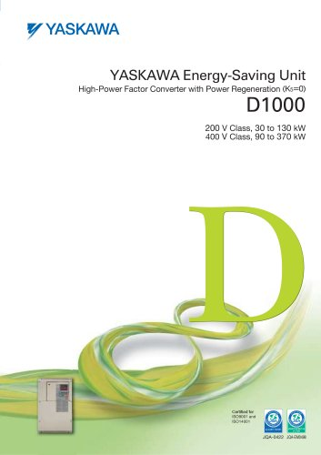 YASKAWA Energy-Saving Unit High-Power Factor Converter with Power Regeneration (K5=0) D1000