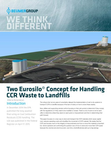 Whitepaper: Two Eurosilo Concept for handling CCR Waste to Landfills