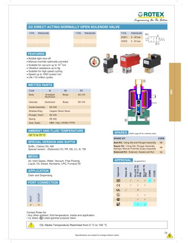 2/2 Direct operated Normally Open Solenoid valve