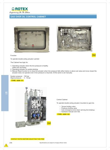 GAS OVER OIL CONTROL CABINET