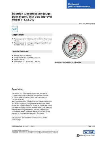 Bourdon tube pressure gauge, back mount, with VdS approval