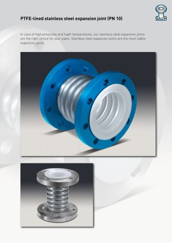 PTFE-lined stainless steel expansion joint (PN 10)