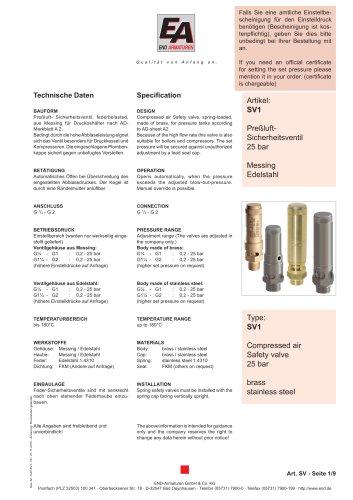 Data sheet SV1