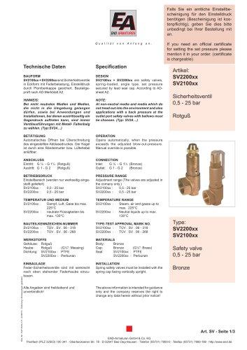 Data sheet SV2200xx- SV2100xx