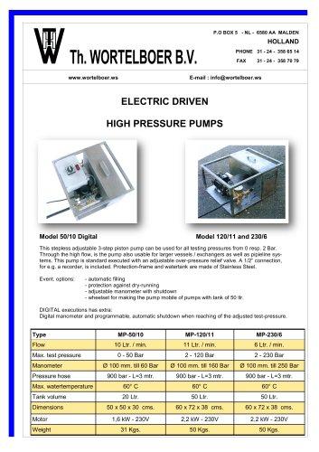Electric testing pumps.