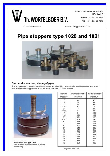 PIPE STOPPERS TILL 0,3 BAR