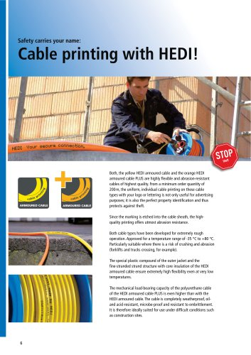 Cable printing with HEDI