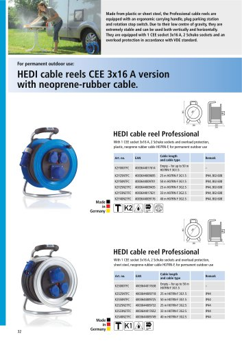 HEDI cable reels CEE 3x16 A version with neoprene-rubber cable.