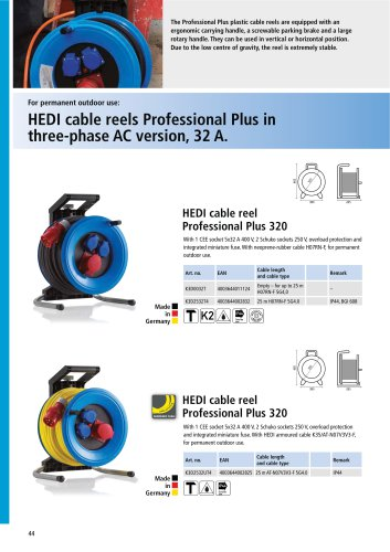 HEDI cable reels Professional Plus in three-phase AC version, 32 A