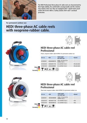 HEDI three-phase AC cable reels with neoprene-rubber cable.