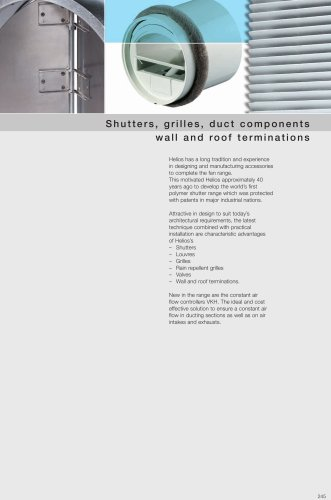 Shutters,  grilles, duct components  wall and roof terminations