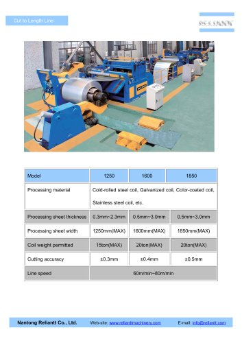 Cold Rolled Cut to Length Line