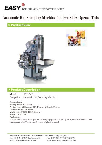 Auto Hot Stamping Machine: Automatic Hot Stamping Machine for Two Sides Opened Tube