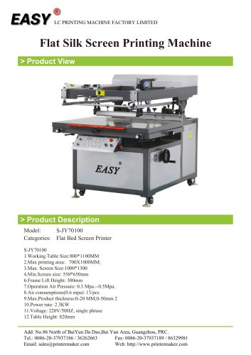 Flat Silk Screen Printing Machine