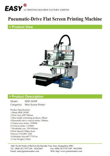Pneumatic-Drive Flat Screen Printing Machine