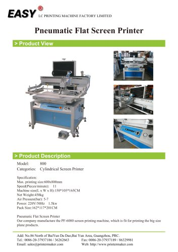 Pneumatic Flat Screen Printer