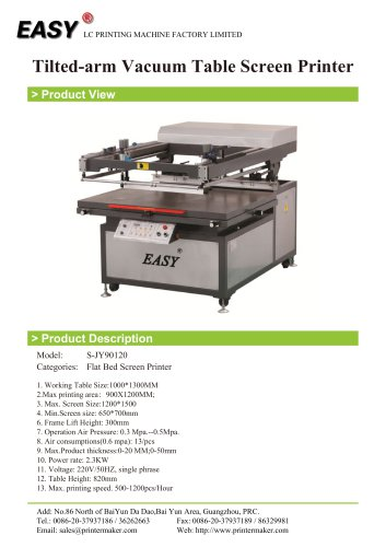 Tilted-arm Vacuum Table Screen Printer