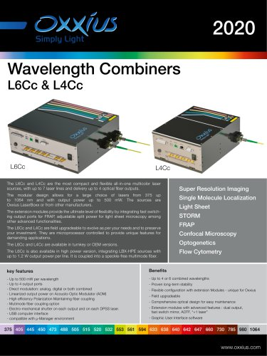 Wavelength Combiners L6Cc & L4Cc