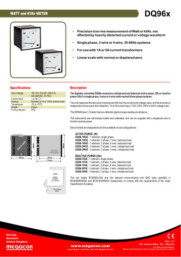 DQ96x kW and KVAr Meter Series