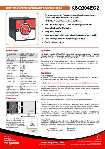 EMERGENCY/STANDBY GENERATOR MANAGEMENT SYSTEM KSQ304EG2