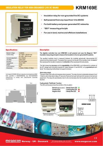 INSULATION RELAY FOR NON-GROUNDED LIVE DC MAIN