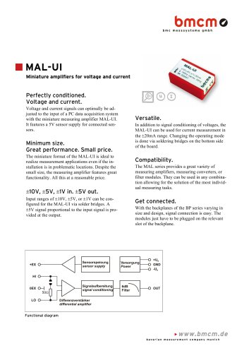Miniature measuring amplifier MAL-UI for voltage and current