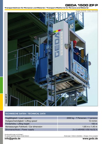 Data sheet GEDA 1500 ZP P