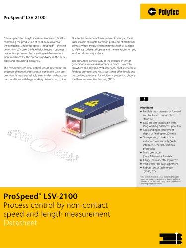 Datasheet ProSpeed LSV | Next generation speed & length measurement